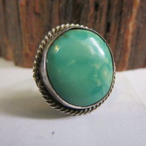 VTG Sterling Silver Navajo Fox Turquoise Ring